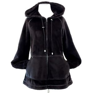 Plush Velour Hoodie Jacket Black M